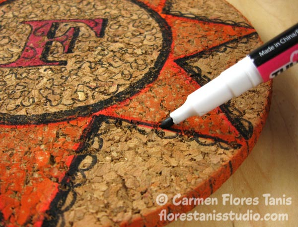 Crafters-Ink-and-EZ-De's-Stamps-Monogramed-Cork-Trivet-Ann-Butler-Carmen-Flores-Tanis-4