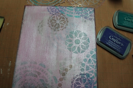Create ART Everyday - Stenciled, Stamped and Inked Canvas - 007