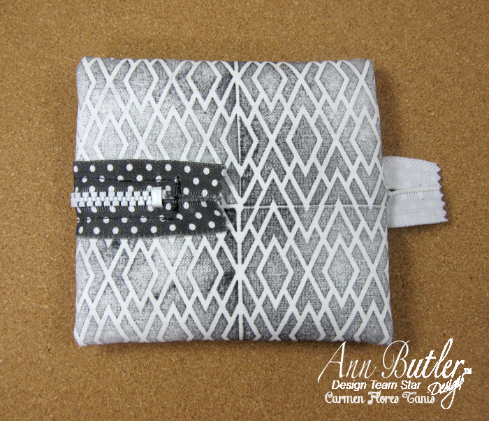 Faux Quilting Stamps Ann Butler Stamped Zipper Pouch by Carmen Flores Tanis