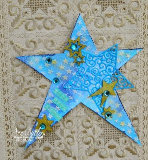 Mixed Media Stenciled Stars