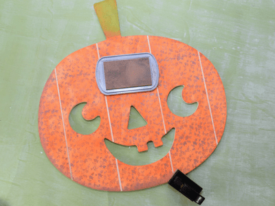 Inked and Stamped Halloween Wood Pumpkin