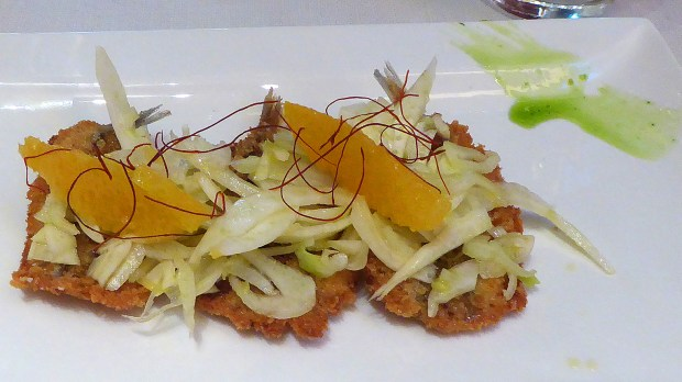 Fried sardines with fennel slaw and fresh orange. Sughero Ristorante, Roma. Photograph, Ann Fisher.
