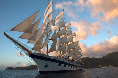 The Royal Clipper, sailing through the Windward and Grenadine islands.
