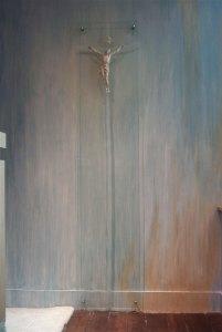 Christ du XVIIe sur verre sablé