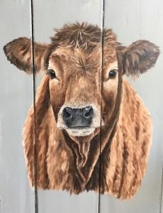 Schilderij schildering op oud eiken luik kalf kalfje koe koeien