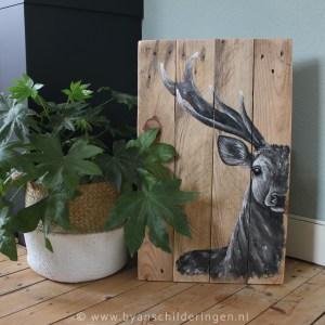 schilderij half hert hout steigerhout sloophout hertje