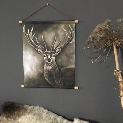 Wanddoek schilderij hert landelijk