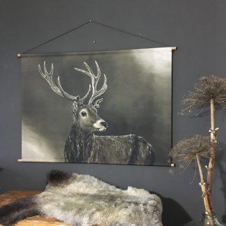 Wanddoek hert schilderij landelijk