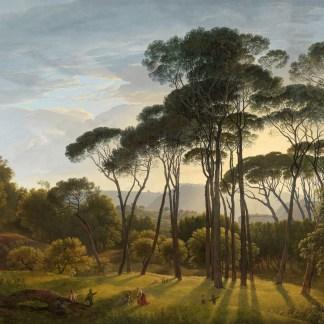 Italiaans landschap met parasoldennen, Hendrik Voogd
