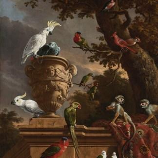 De menagerie, Melchior d'Hondecoeter, wanddoek reproductie schilderij
