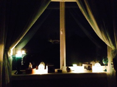 At my window I had several tea lights, and one large candle