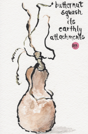 Watercolor of butternut squash and haiku by Ann Burgevin