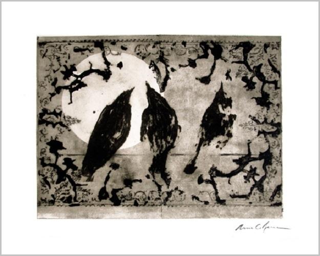 Gravure contemporaine -Corbeaux au clair de lune- Theme Moucharabieh Anne Carpena