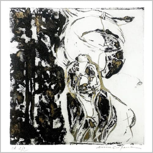 Gravure contemporaine -Courtoisie- Theme Divines-natures Anne Carpena