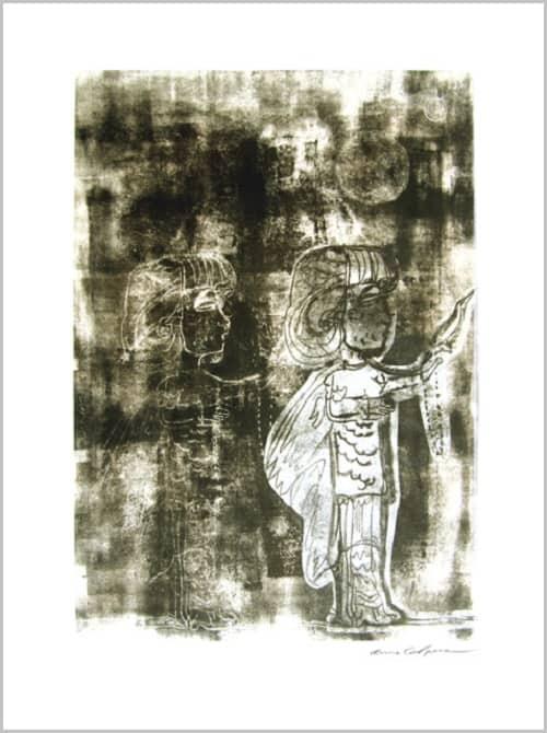Gravure contemporaine -Dans son manteau- Theme Le presae imobile Anne Carpena