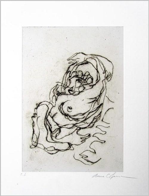 Gravure contemporaine -Voluptatem 1 L origine- Theme Moucharabieh Anne-Carpena