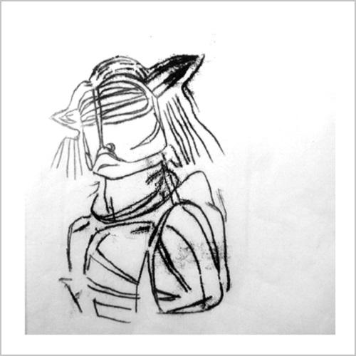 Gravure-contemporaine-jeune chef2- theme confrerie masquee Anne Carpena