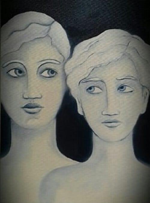 Visages silencio -Huile sur carton toilé Anne Carpena