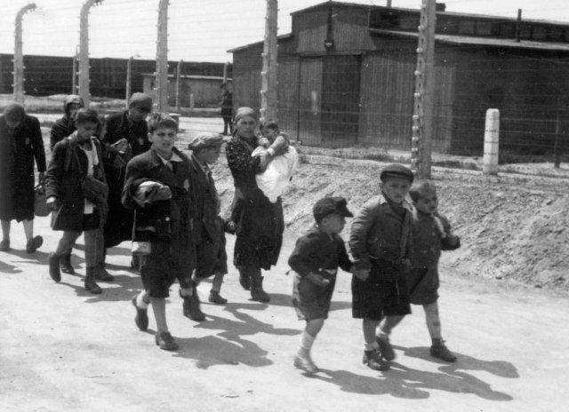 Mujeres y niños húngaros se dirigen hacia las cámaras de gas, después de su llegada a Auschwitz-Birkenau. 26 de mayo de 1944