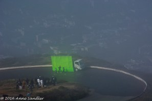 They were filming a commercial and had to use a green screen because of the fog.