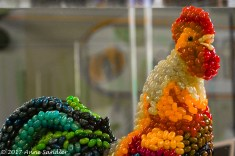 This rooster is made from Jelly Bellys.