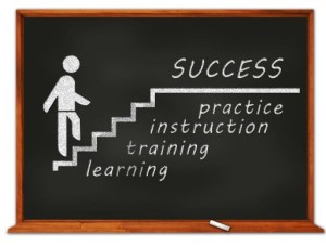 Blackboard displaying a drawing of a person walking up stairs labeled as learning, training, instruc tion, and practice with success at the top of the staris.