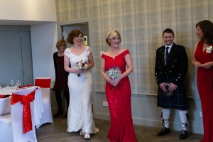 Bride entering room at Glen Clova Hotel