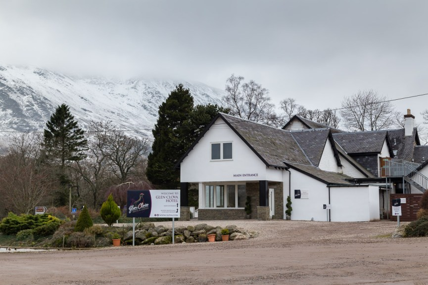 Entrance to the Glen Clova Hotel