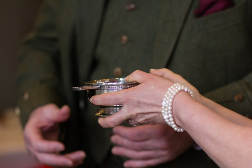 Bride holding a quaich