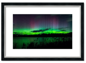 Fine Art Framed Print of the Northern Lights over Balgavies Loch