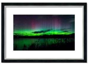 Fine Art Framed Print of the Northern Lights over Balgavies Loch
