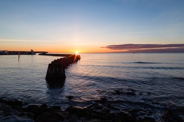 The sun rising in Arbroath, Angus
