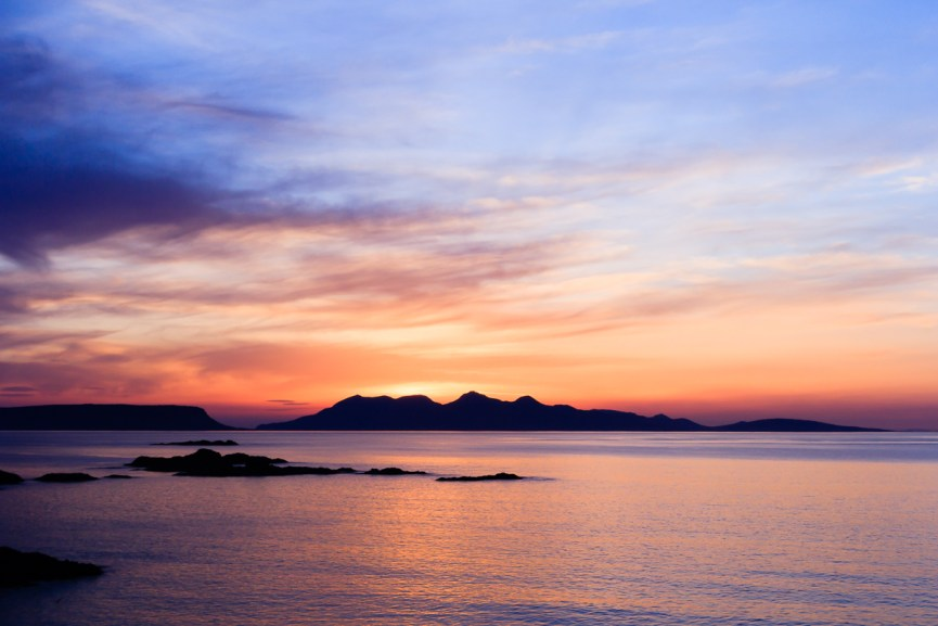 Eigg and Rhum from Camusdarach at sunset