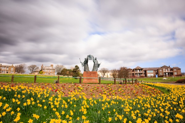 Declaration of Arbroath monument in spring
