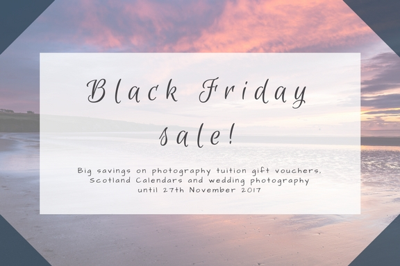 Black Friday Sale on photography tuition vouchers, Scotland Calendars and wedding photography