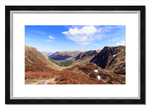 Fine art framed print of Glen Doll from Jock's Road