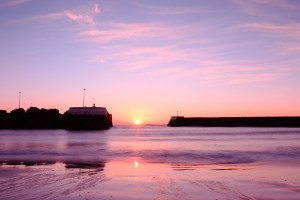 The sun coming over the horizon in Arbroath