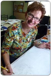Anne doing a Silverpoint sketch of Nelson Mandela
