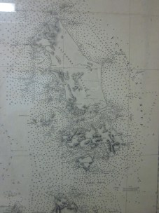 This map shows the soundings taken to determine the depth the waters around Flinders Island.