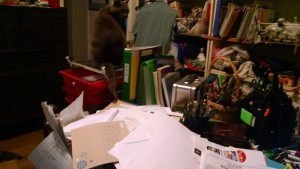 Yes, I'm grateful Dorothy Parker kitty likes hanging around on my desk and knocking stuff off.