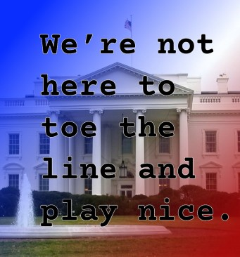 "Pull Quote for romantic fiction serial White House Rhapsody: ""We're not here to toe the line and play nice."""