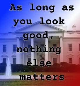 Pull quote from romantic fiction serial White House Rhapsody: as long as you look good, nothing else matters.