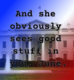 Pull quote from romantic fiction serial White House Rhapsody: And she obviously sees good stuff in you, June.