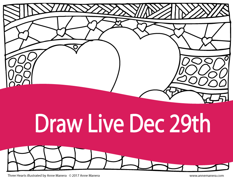 Draw live three hearts coloring page dec 29th illustrated by anne manera