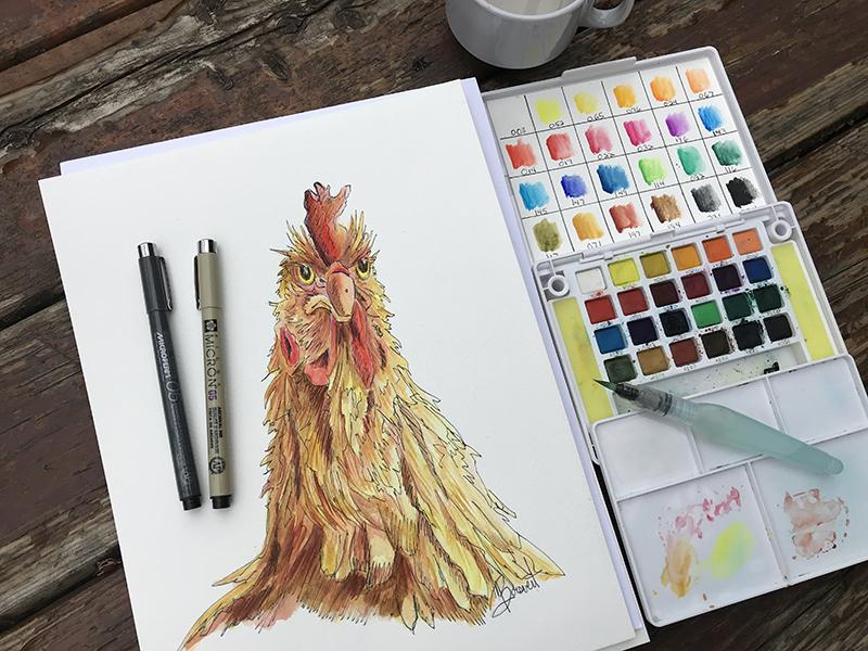 sakura, aquarelle et crayon encre alaune