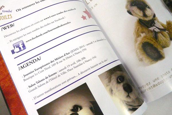 Le dossier dédié à L'ours tombé des étoiles, dans le magazine Ours & Poupées (avril 2014)
