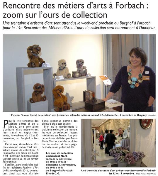 Rencontre metiers d art burghof forbach 2016 reg'art Republicain Lorrain Anne Marie Verron sculpteur textile ours tombe etoiles artisanat art Nancy