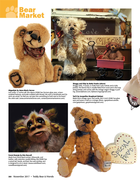 Teddy Bear and Friends Magazine november december 2017 OOAK artist bears VERRON
