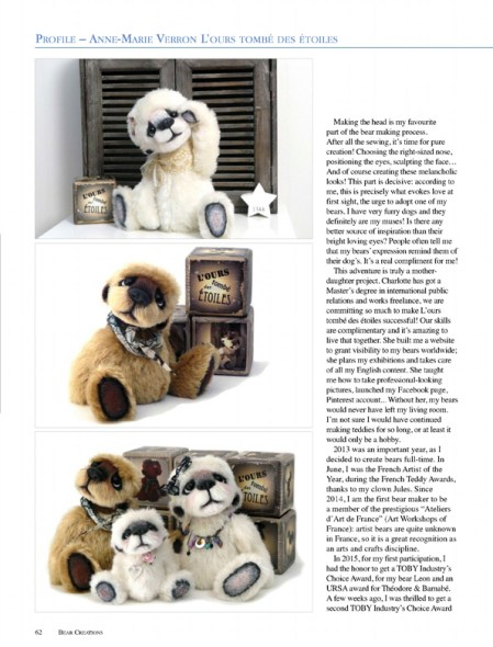 Australian Bear Creations Magazine 2016 Volume 20 Issue 4 ours artiste collection OOAK bear teddy verron