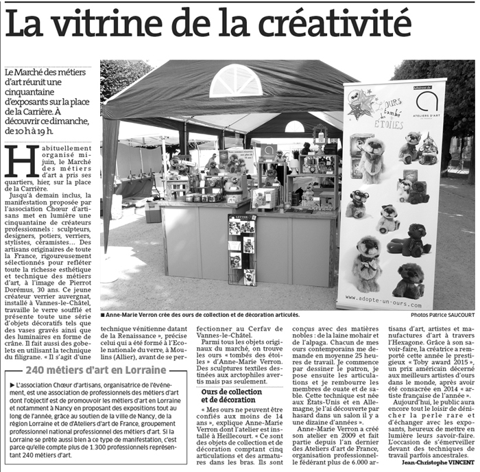 Ours de collection artiste - sculptures textiles - Anne Marie Verron - ours tombe etoiles